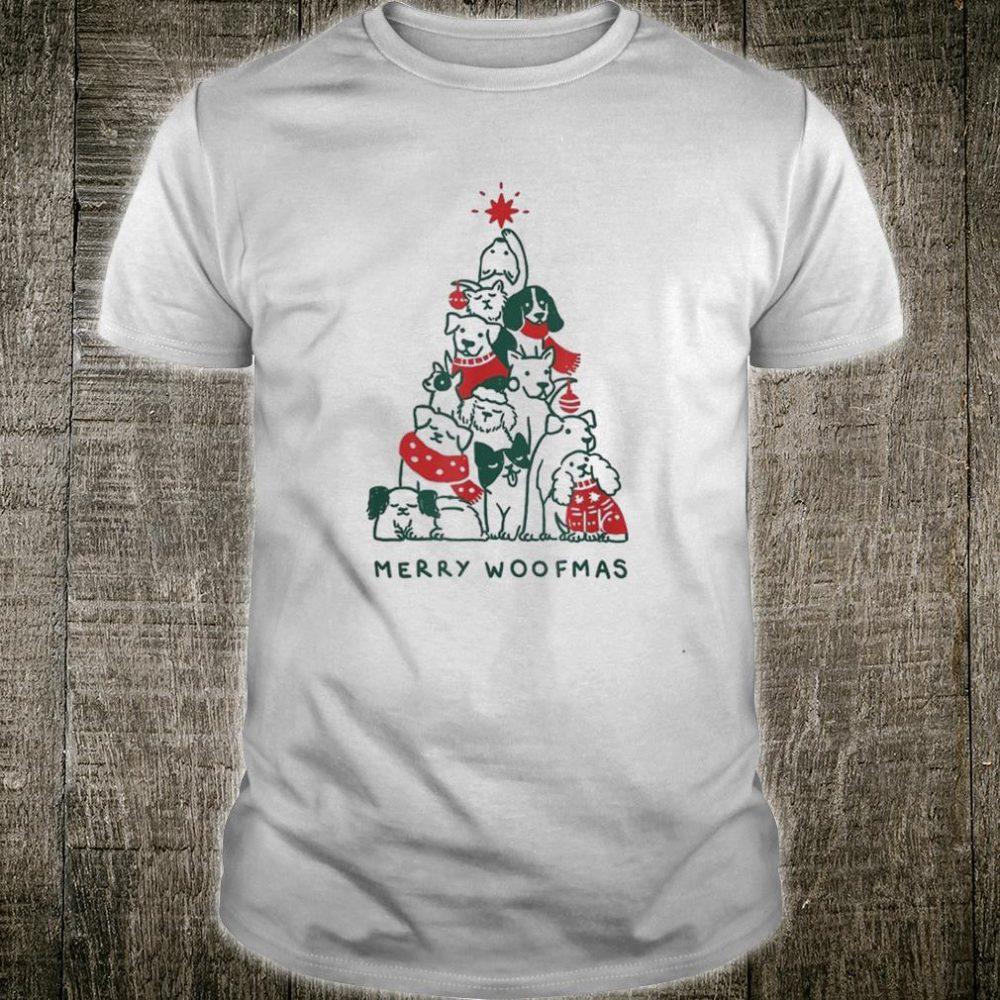 Merry Woofmas Dogs Christmas Tree Xmas Shirt