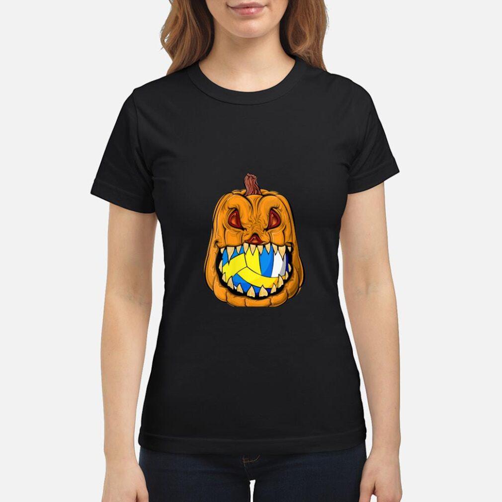 Pumpkin Carving Eat Volleyball Ball Halloween Shirt ladies tee