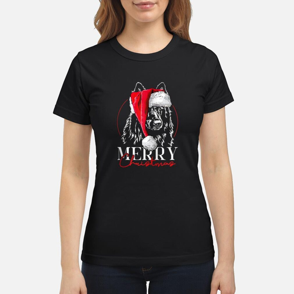 Santa Belgian Sheepdog Merry Christmas dog mom Shirt ladies tee