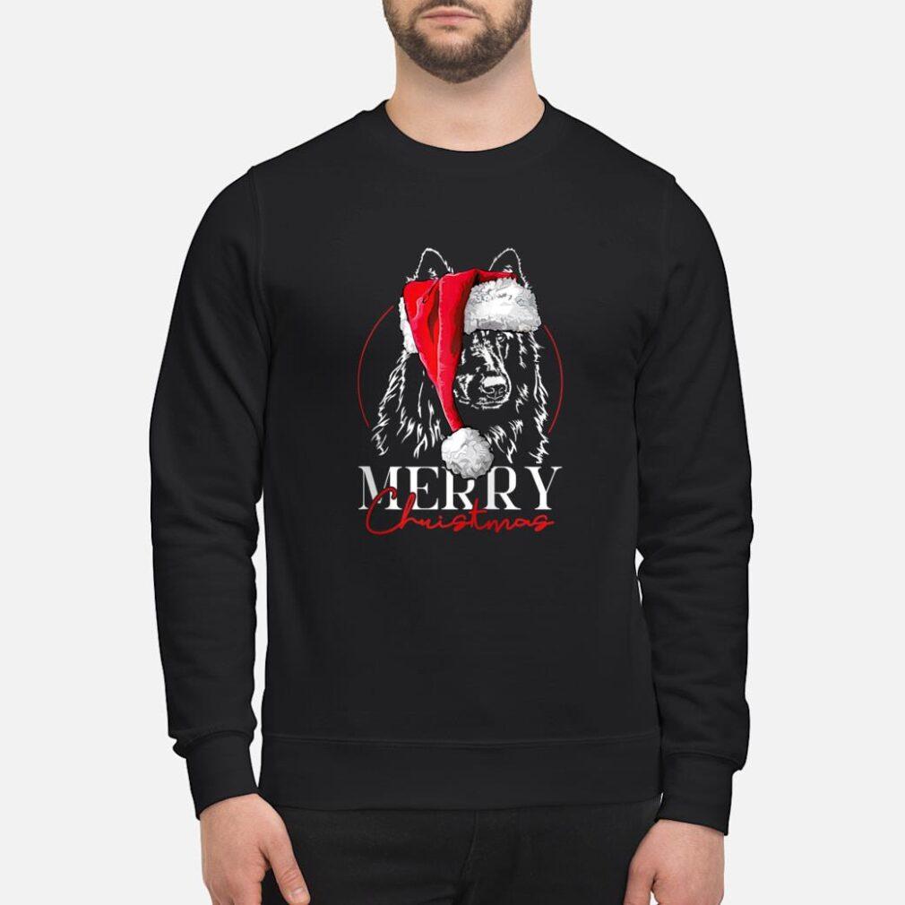 Santa Belgian Sheepdog Merry Christmas dog mom Shirt sweater