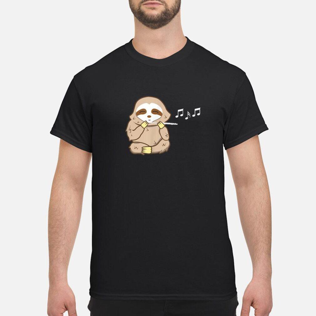 Sloth Playing Flute Shirt Music Instrument Shirt