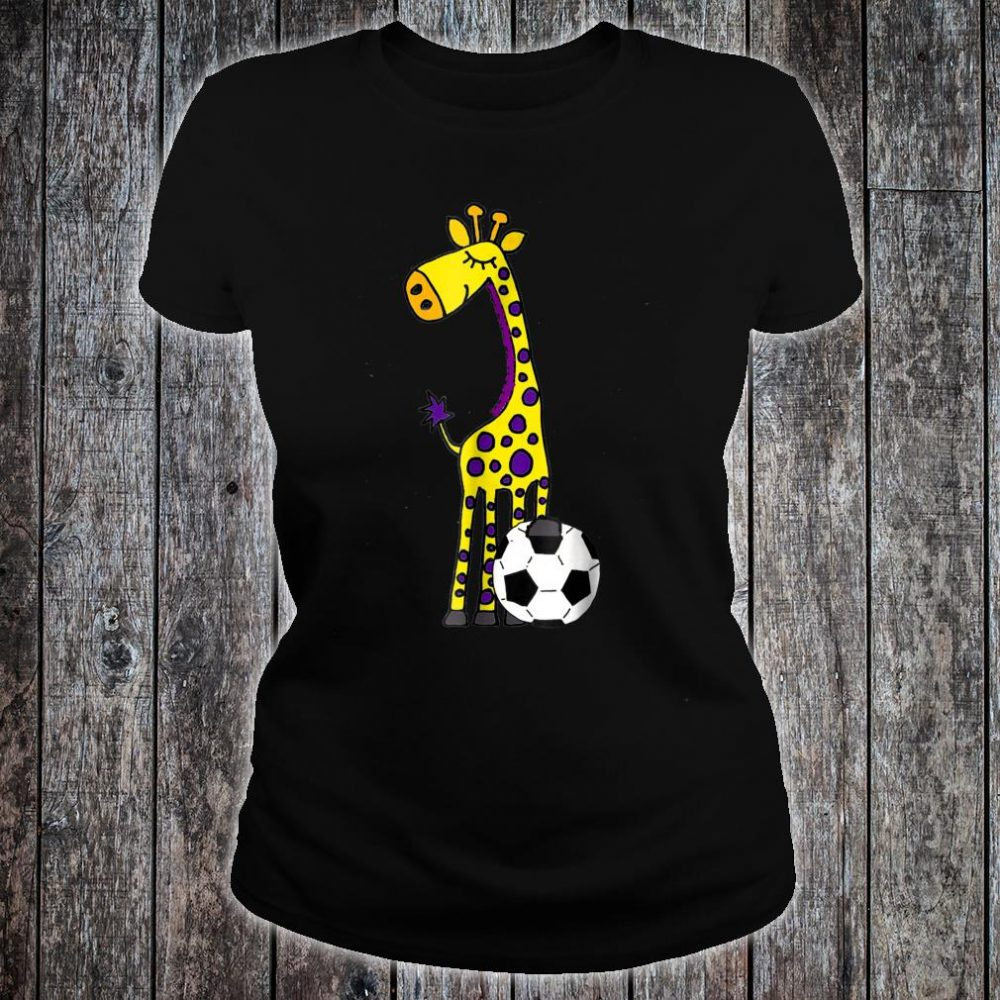 Smilealots Giraffe Playing Soccer Shirt ladies tee