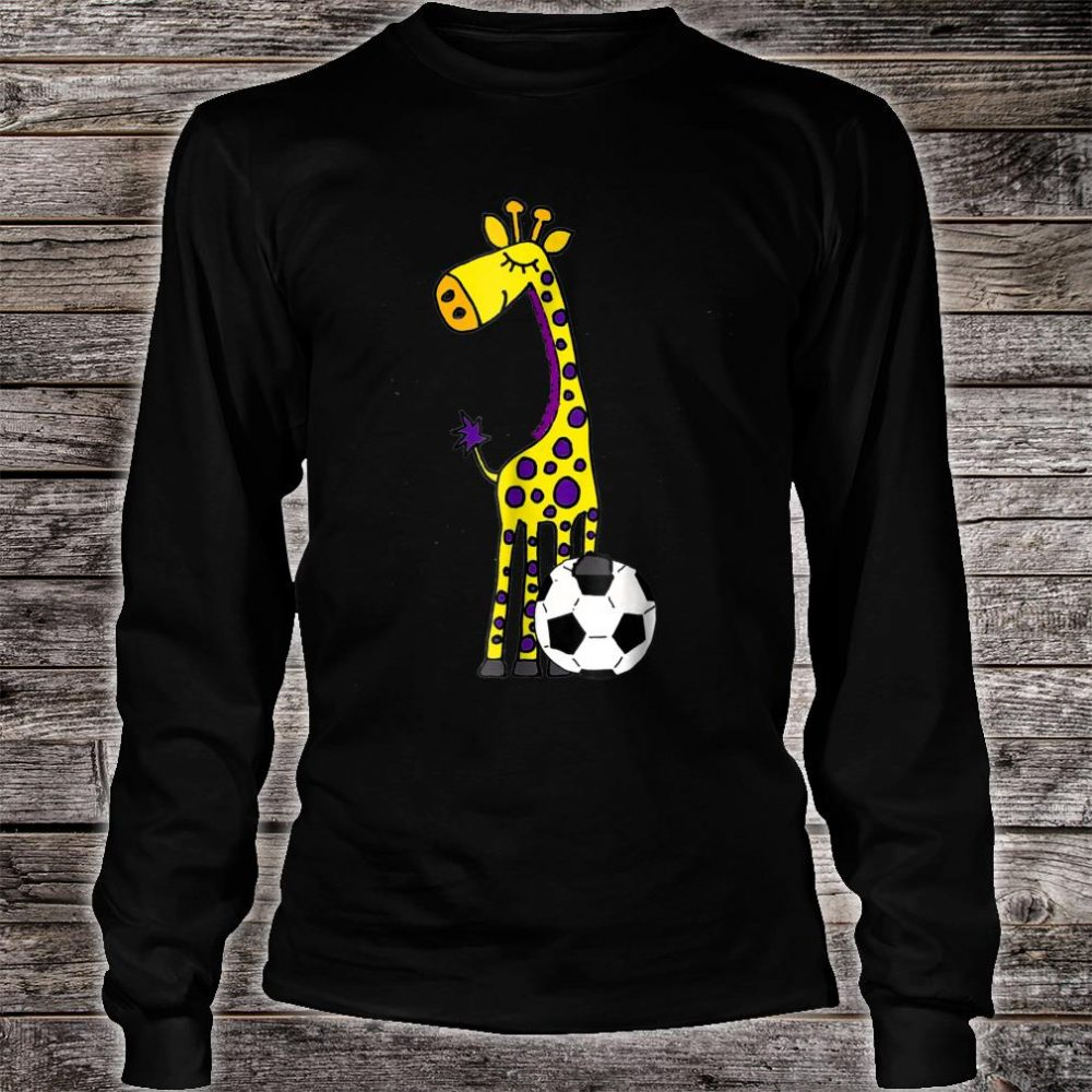 Smilealots Giraffe Playing Soccer Shirt long sleeved