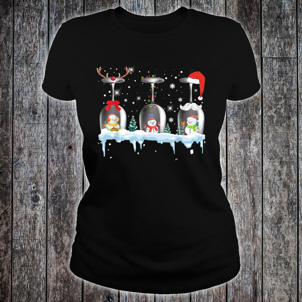 Snowman with Glassed Deer Christmas Hat and light Shirt ladies tee