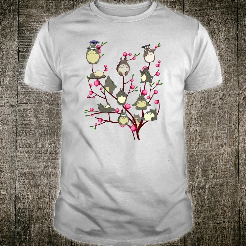 The Totoro with cherry blossoom shirt