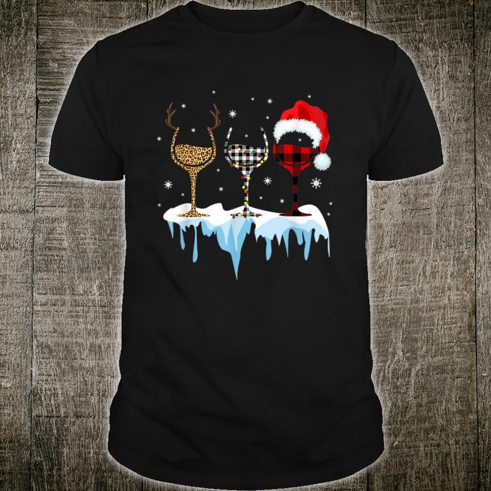 Three Glass Of Red Wine Santa Christmas Shirt