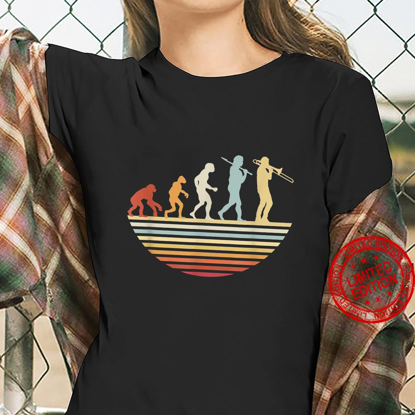 Trombone Player Retro Evolution of Trombonist Vintage Shirt ladies tee