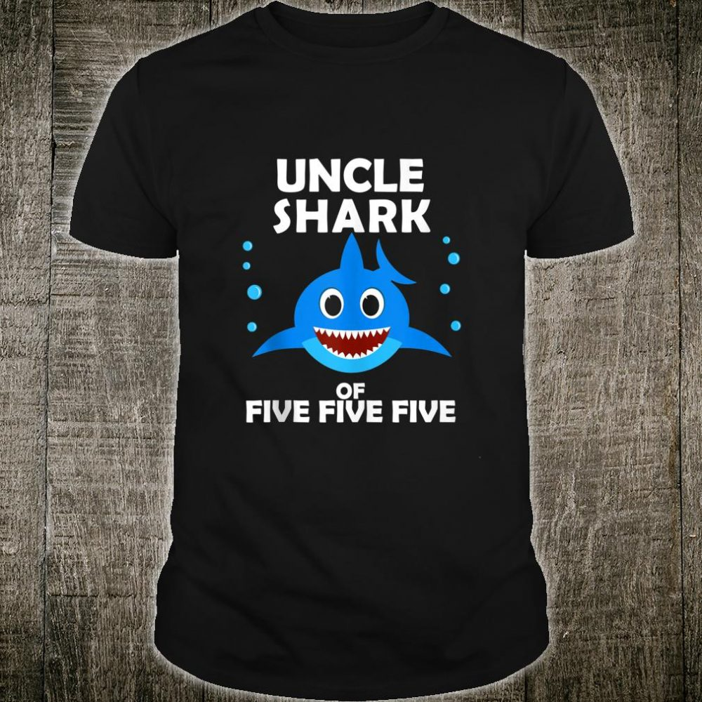 Uncle Shark of Five Fathers Day Birthday Party Shirt
