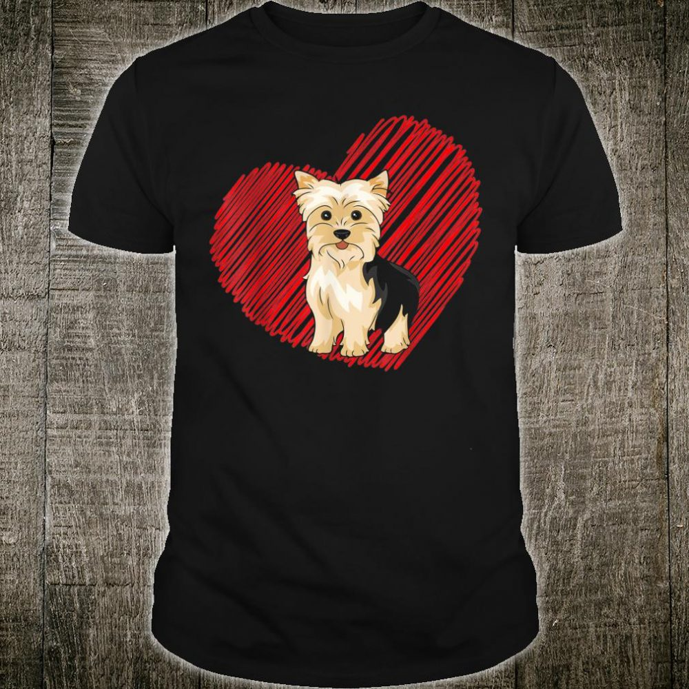 Valentines Day Yorkshire Terrier Heart Love Dog Mom Dad Shirt