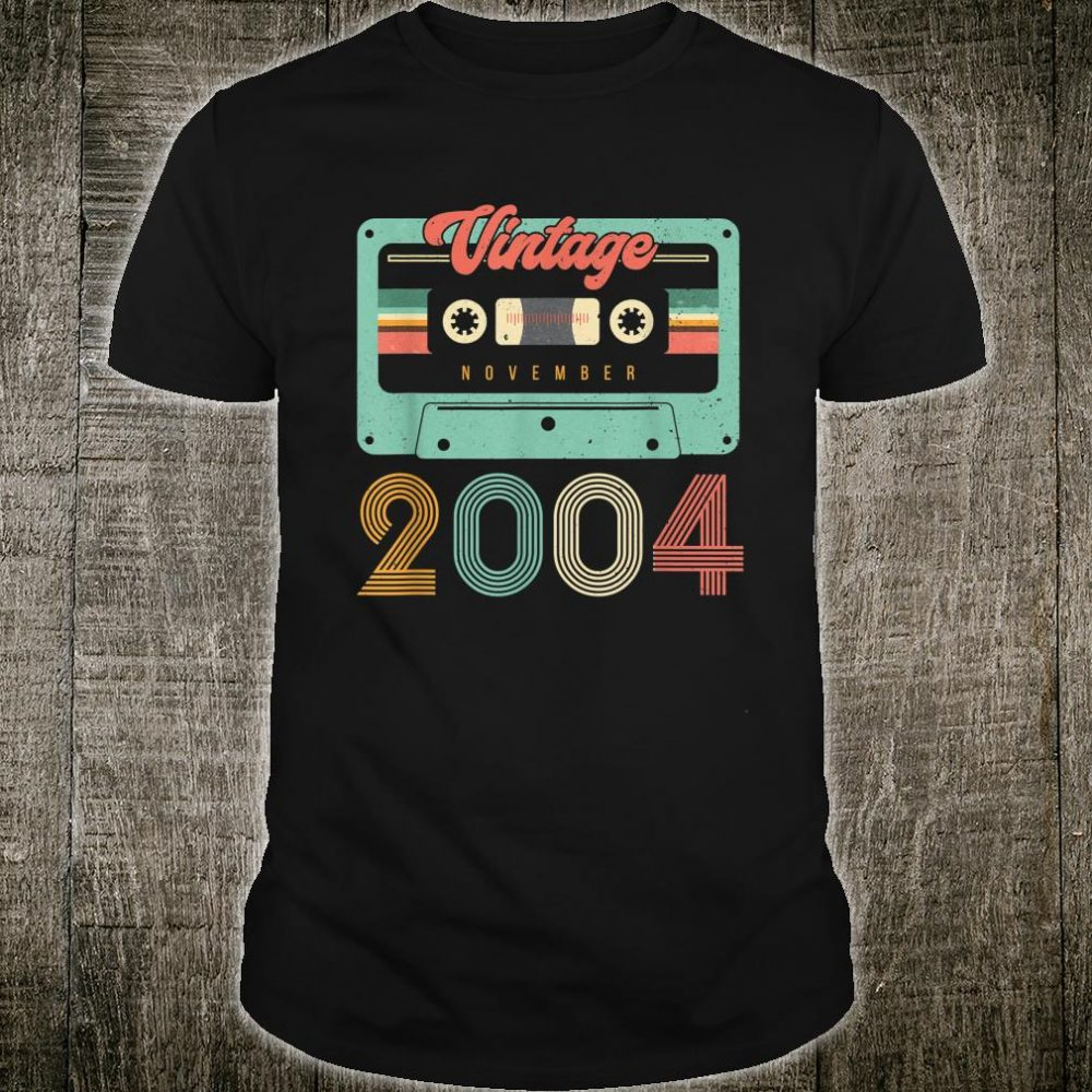 Vintage Cassette Born In November 2004 16th Birthday Shirt
