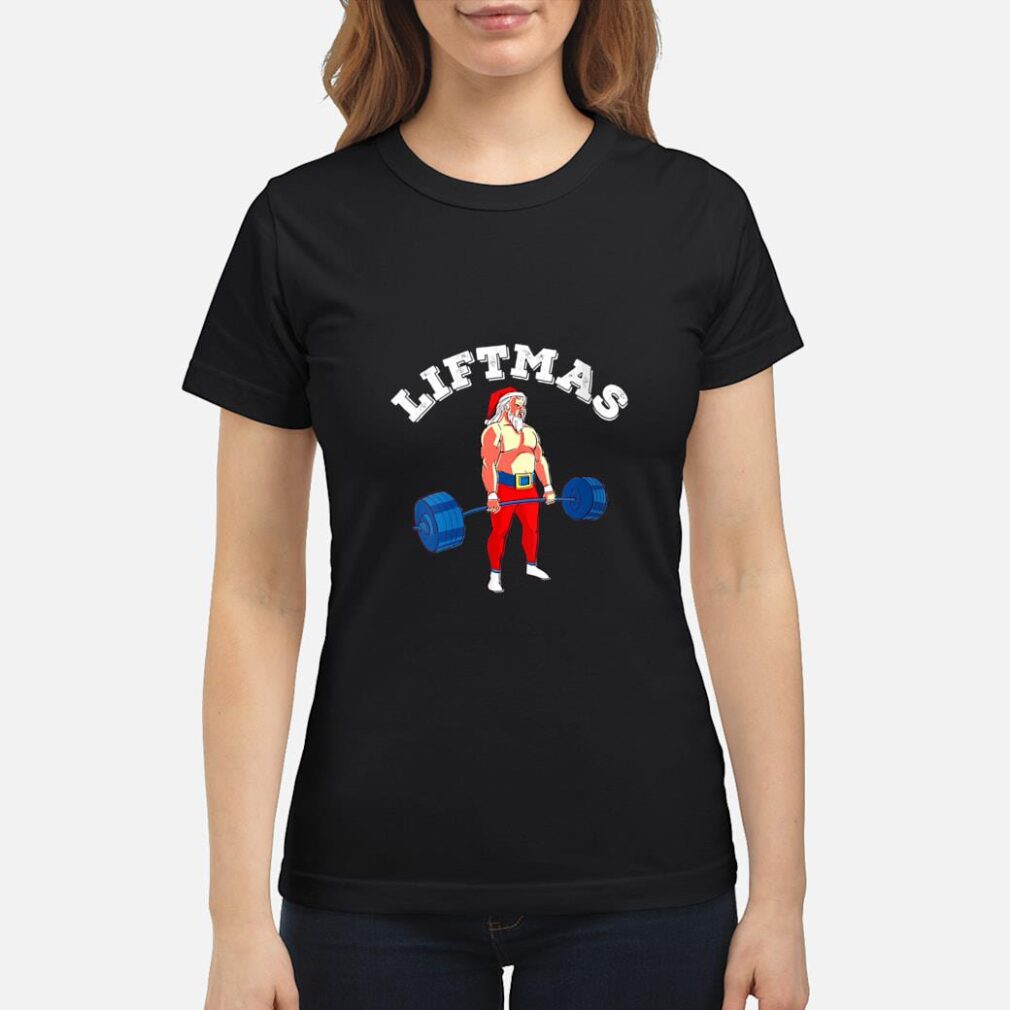Weightlifting Workout Weight Lifting Santa Muscles Gym Shirt ladies tee