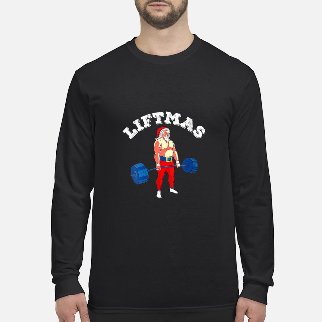 Weightlifting Workout Weight Lifting Santa Muscles Gym Shirt long sleeved