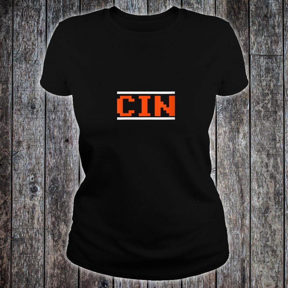 Womens Cincinnati Football 8Bit Font Shirt ladies tee