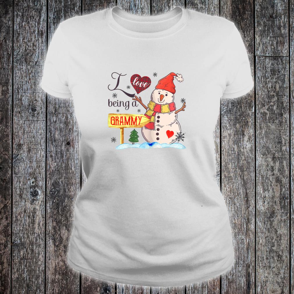 Womens I Love Being Grammy Snowman Family Christmas Shirt ladies tee