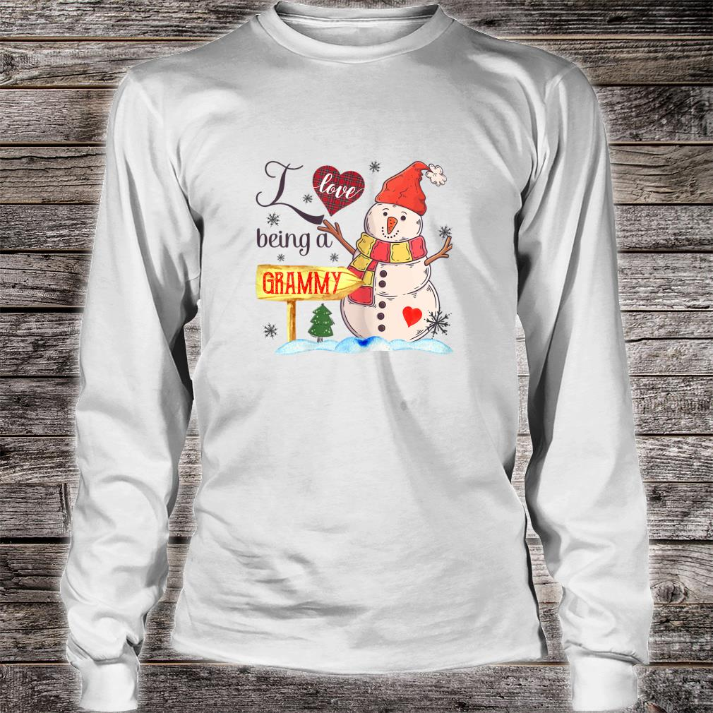 Womens I Love Being Grammy Snowman Family Christmas Shirt long sleeved