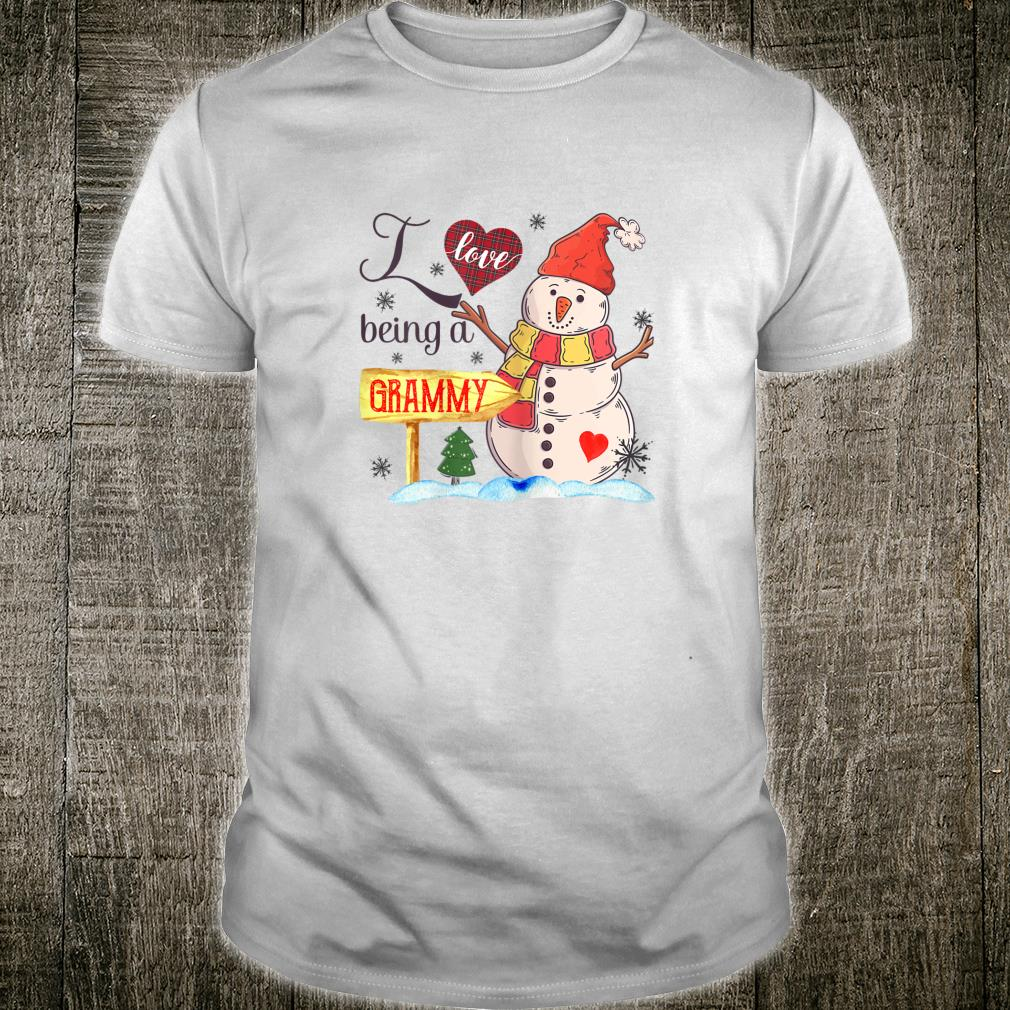 Womens I Love Being Grammy Snowman Family Christmas Shirt