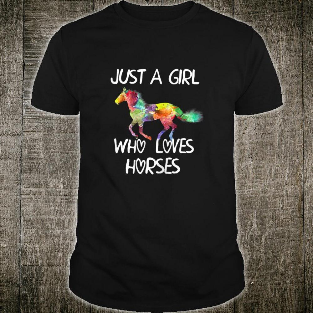 Womens Just A Girl Who Loves Horses Shirt Cute Horse Design Shirt