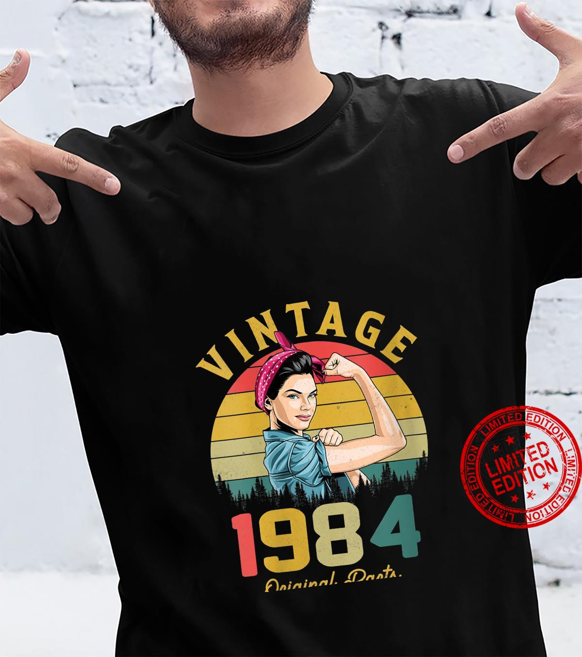 Womens Vintage 1984 Made In 1984 37th Birthday 37 Years Old Shirt