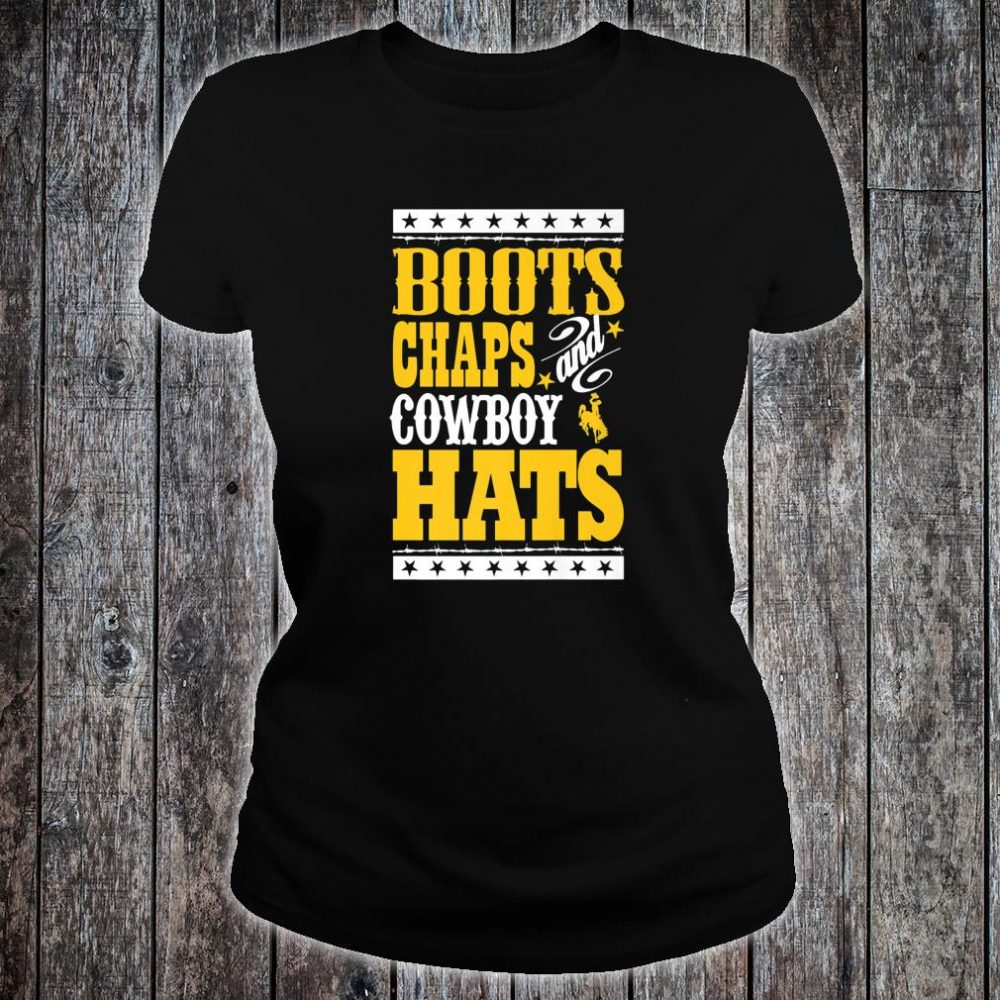 Wyoming Cowboys Boots Chaps And Cowboy Hats Student Alumni Shirt ladies tee